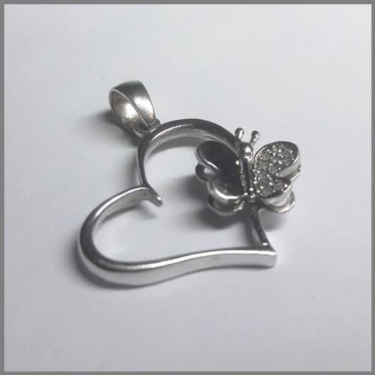 Кулон Бабочка на сердце