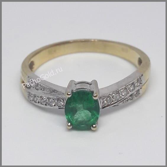 Кольцо для женщины с изумрудом и бриллиантами