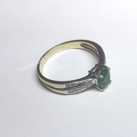 Кольцо с изумрудами и бриллиантами ручной работы