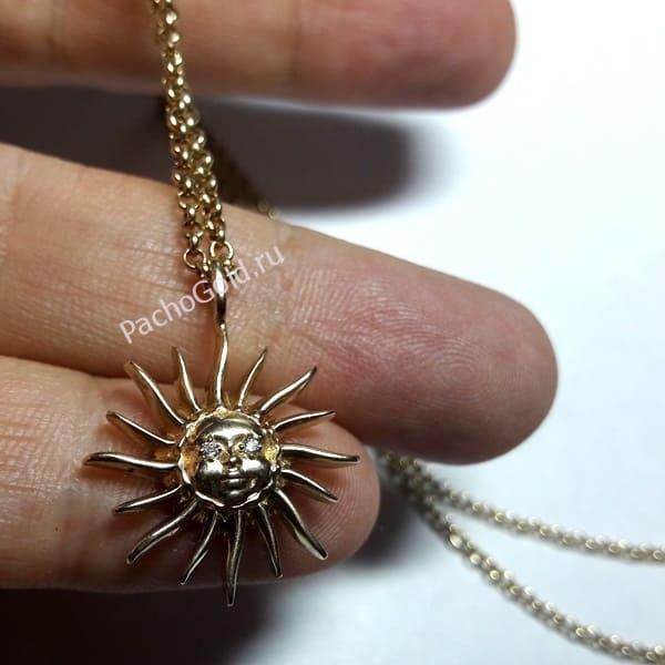 Кулон Солнце из золота на заказ