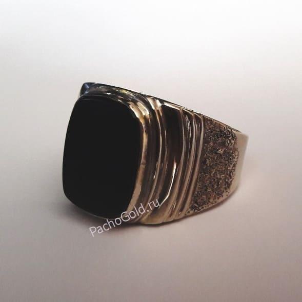 Перстень с обсидианом ручной работы