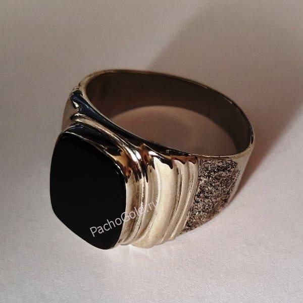 Мужской перстень с обсидианом